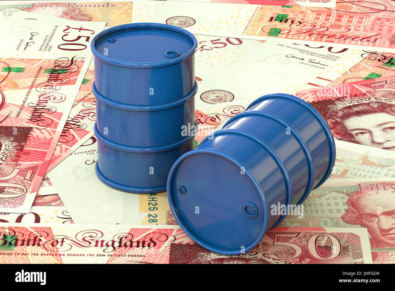3d illustration: Blue barrels of oil lie on the background of banknote of British pound sterling. Money. Petroleum business, gasoline production. - Stock Image