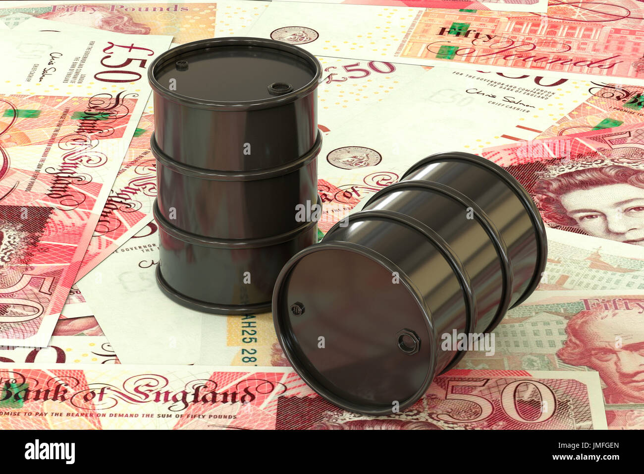 3d illustration: Black barrels of oil lie on the background of banknote of British pound sterling. Money. Petroleum business, black gold, gasoline - Stock Image