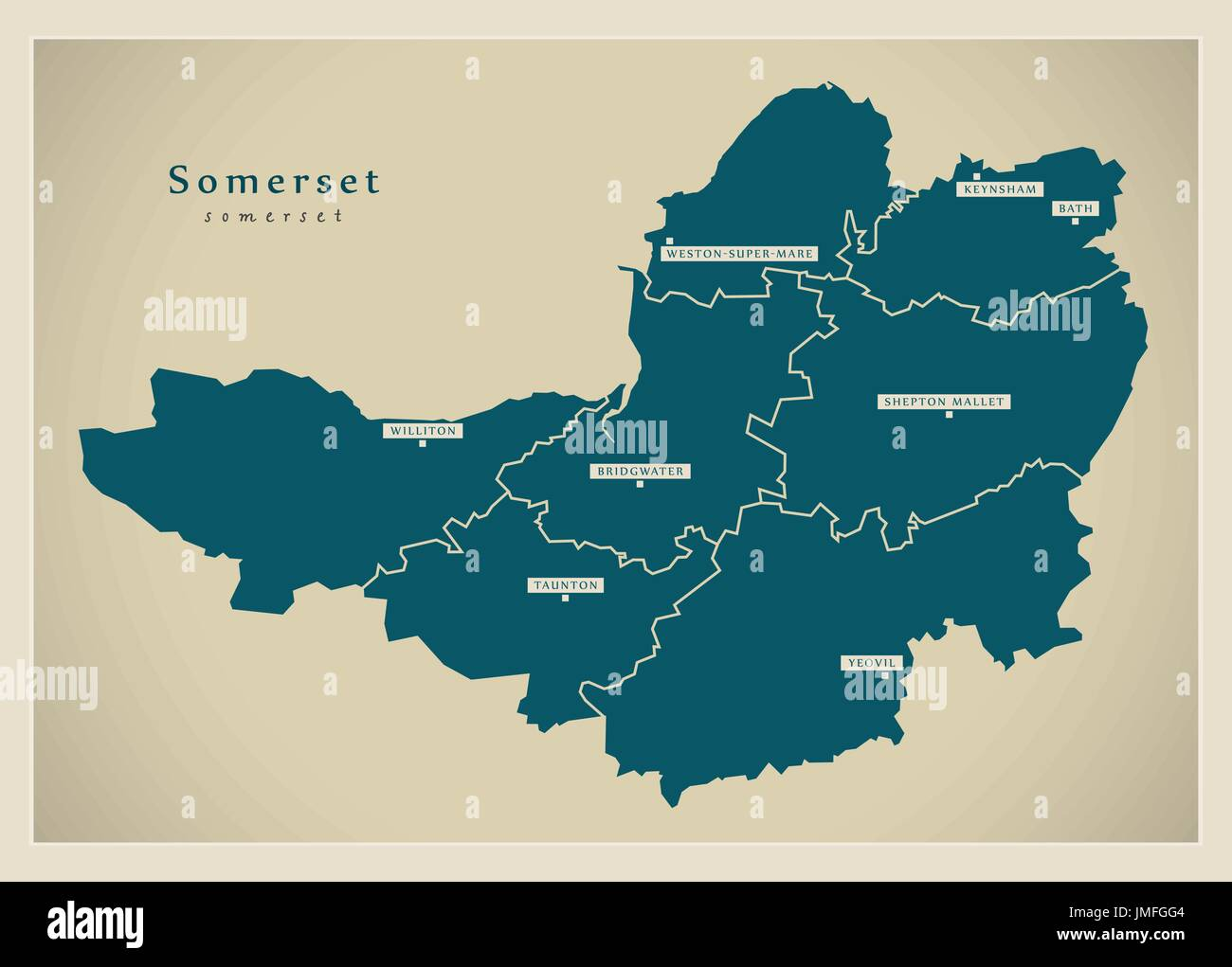 Map Of England Districts.Modern Map Somerset County With Cities And Districts England Uk
