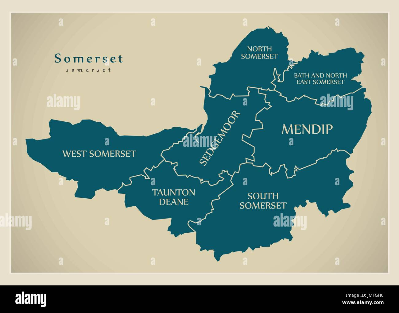Modern Map - Somerset county with district captions England UK illustration - Stock Vector