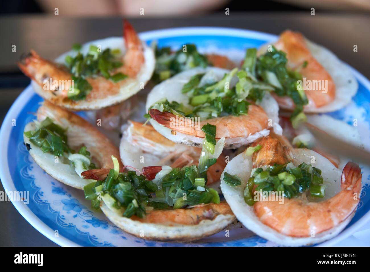 Vietnamese food and vegetable on dish. Nha trang, Vietnam. - Stock Image