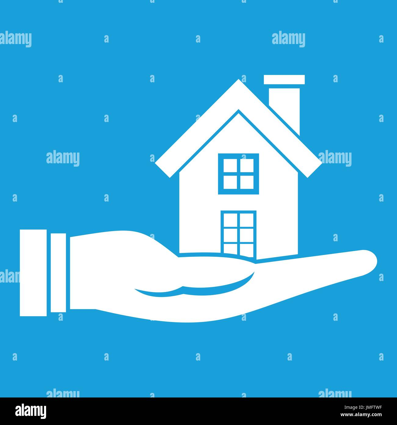 House in hand icon white - Stock Image