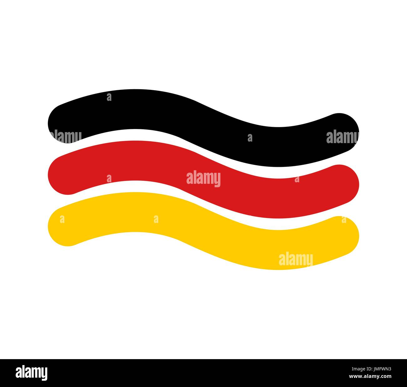 German flag linear style. Sign of State of Germany. Symbol of Federal Republic of Germany - Stock Image