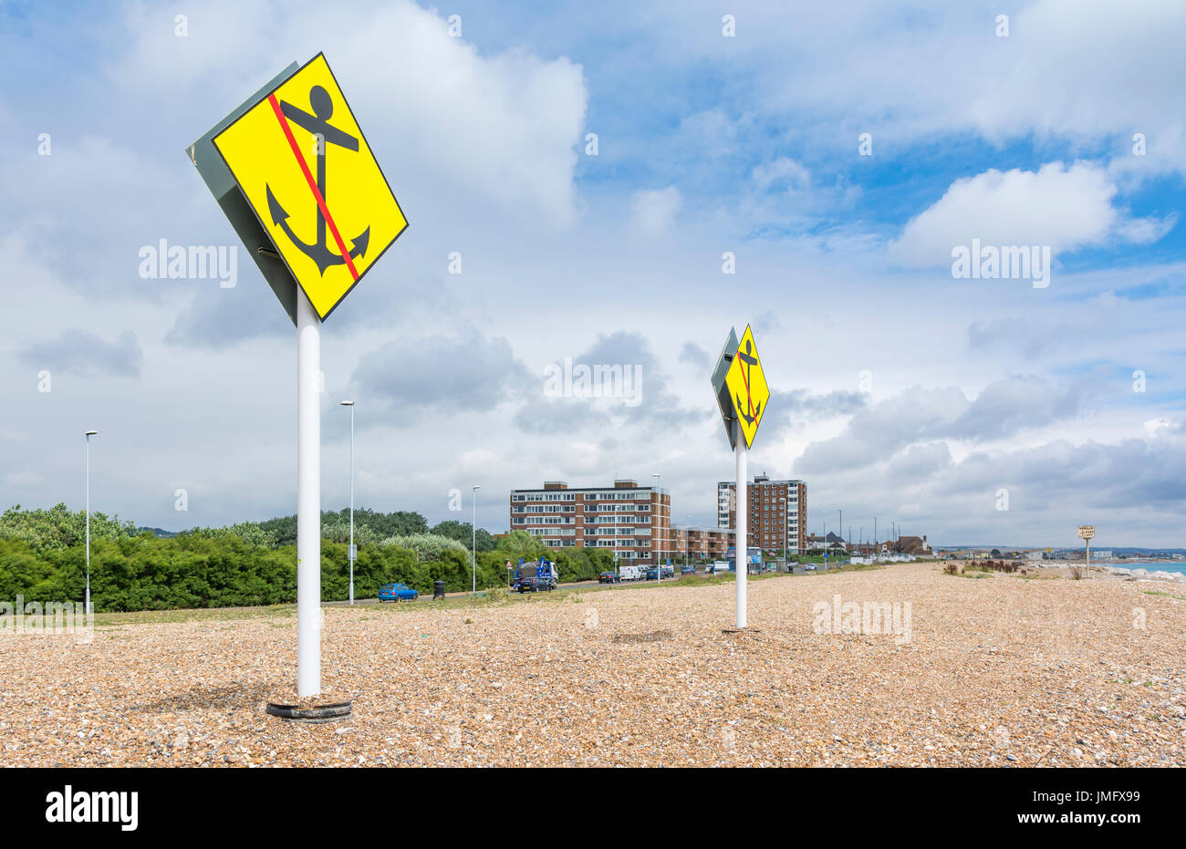 No anchor warning signs where underwater power cables are laid on the South Coast of England, where the power cables from the wind farm come ashore. - Stock Image