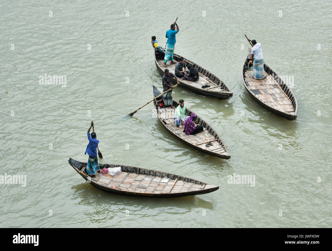 Rowboats on the Buriganga River, Dhaka, Bangladesh - Stock Image