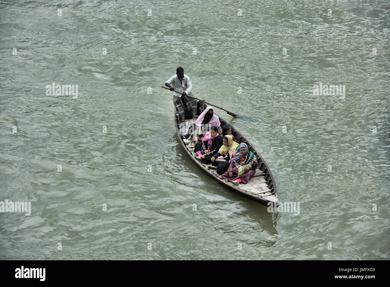 Rowboat on the Buriganga River, Dhaka, Bangladesh - Stock Image