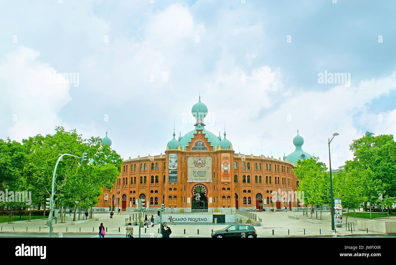 LISBON, PORTUGAL - MAY 2, 2012: The facade of the old bullfight arena - Campo Pequeno, located on the same named square and faces Avenue of Republic,  - Stock Image