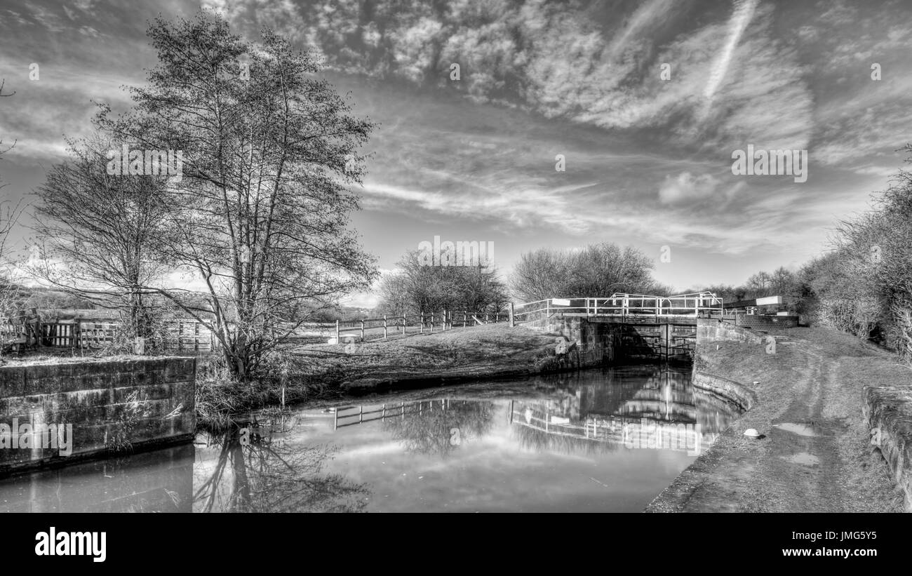 This is a lock on the Erewash Canal on the Nottinghamshire/Derbyshire border. - Stock Image