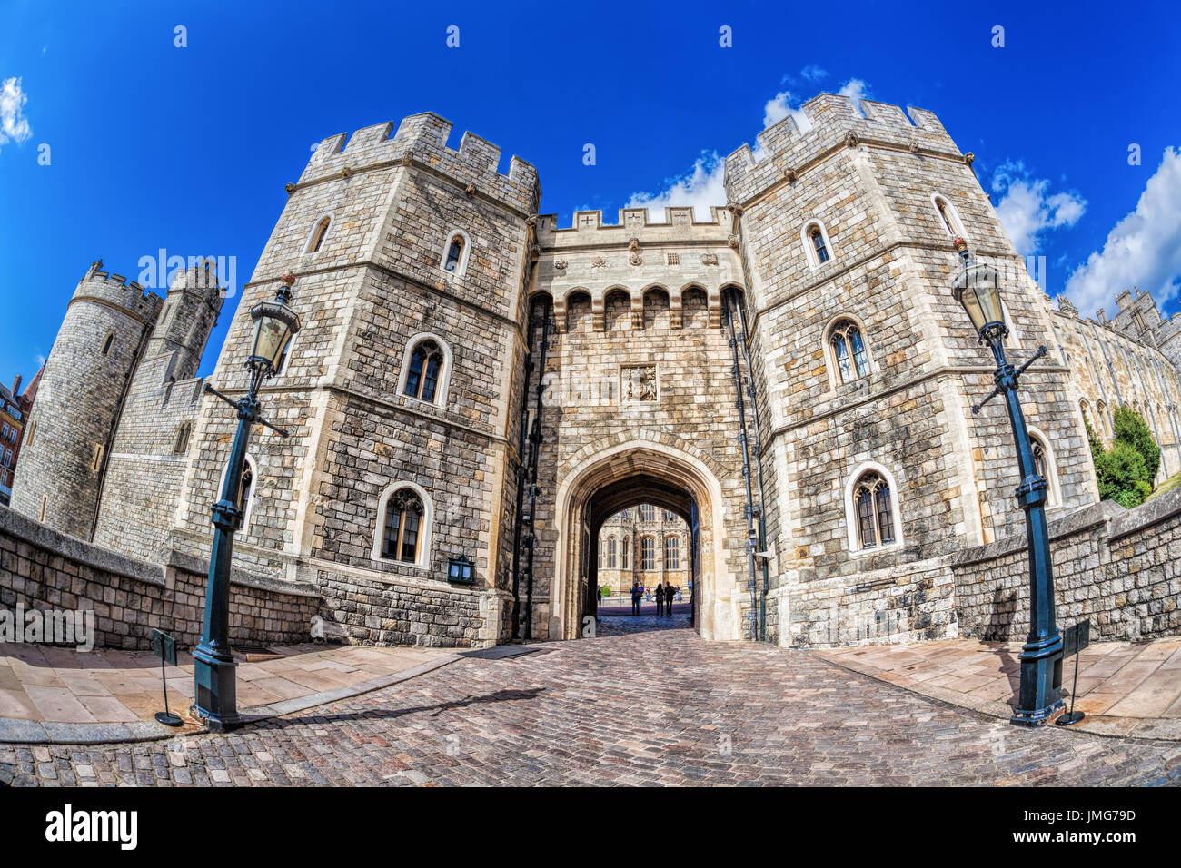 Windsor castle with gate near London, United Kingdom - Stock Image