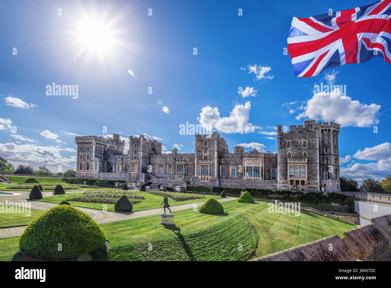 Windsor castle with garden near London, United Kingdom - Stock Image