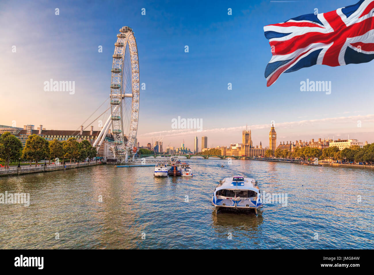 Sunrise with Big Ben, Palace of Westminster, London Eye, Westminster Bridge, River Thames, London, England, UK. - Stock Image