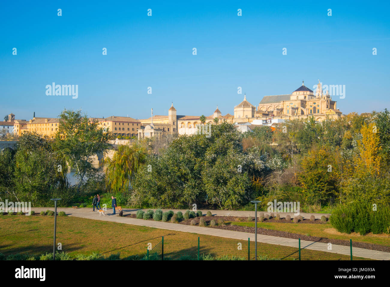 Overview of the old town from the bank of river Guadalquivir. Cordoba, Spain. - Stock Image
