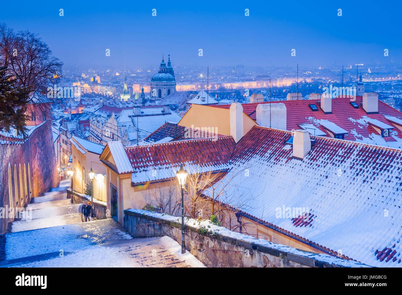 Europe, Czech Republic, Czechia, Prague, Praha, UNESCO, Panorama with Church of Saint Nicholas, Kostel Svateho Mikulase, Stock Photo