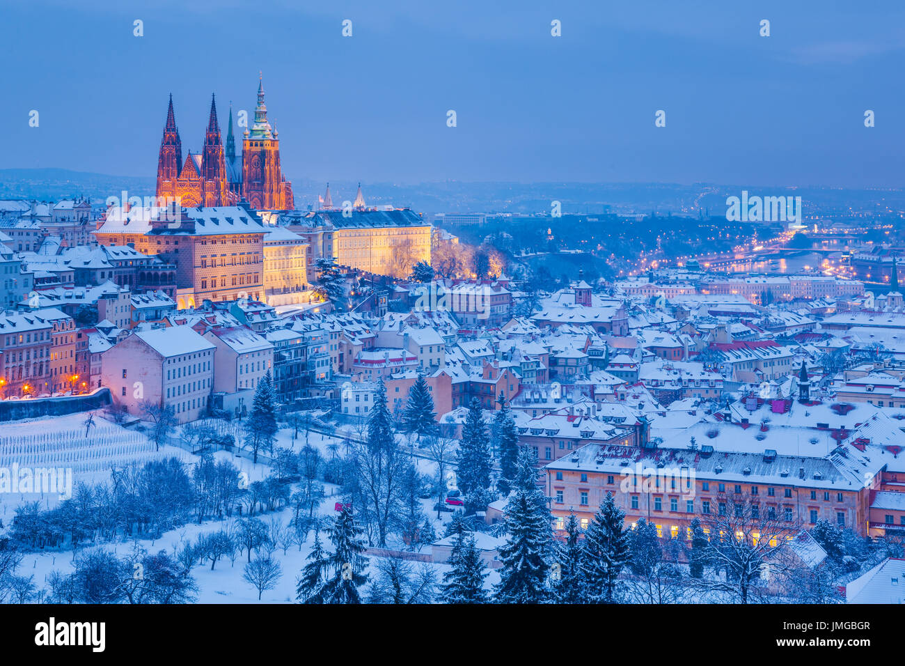Europe, Czech Republic, Czechia, Prague, Praha, Historical Old Town, UNESCO, Prague Castle, Prazsky hrad, St. Vitus Stock Photo