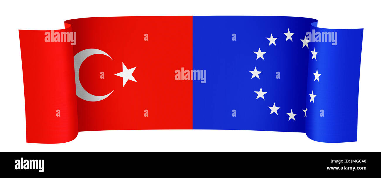illustration of the Turkey and EU flags on white background - Stock Image