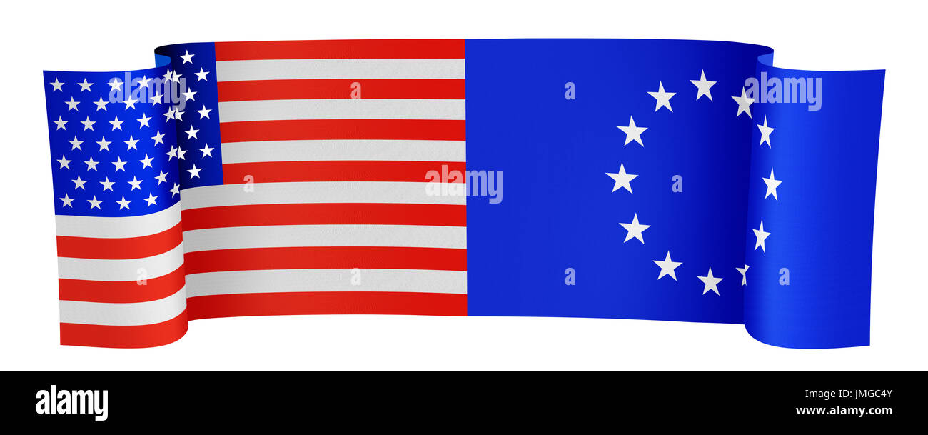 illustration of the USA and EU flags on white background - Stock Image