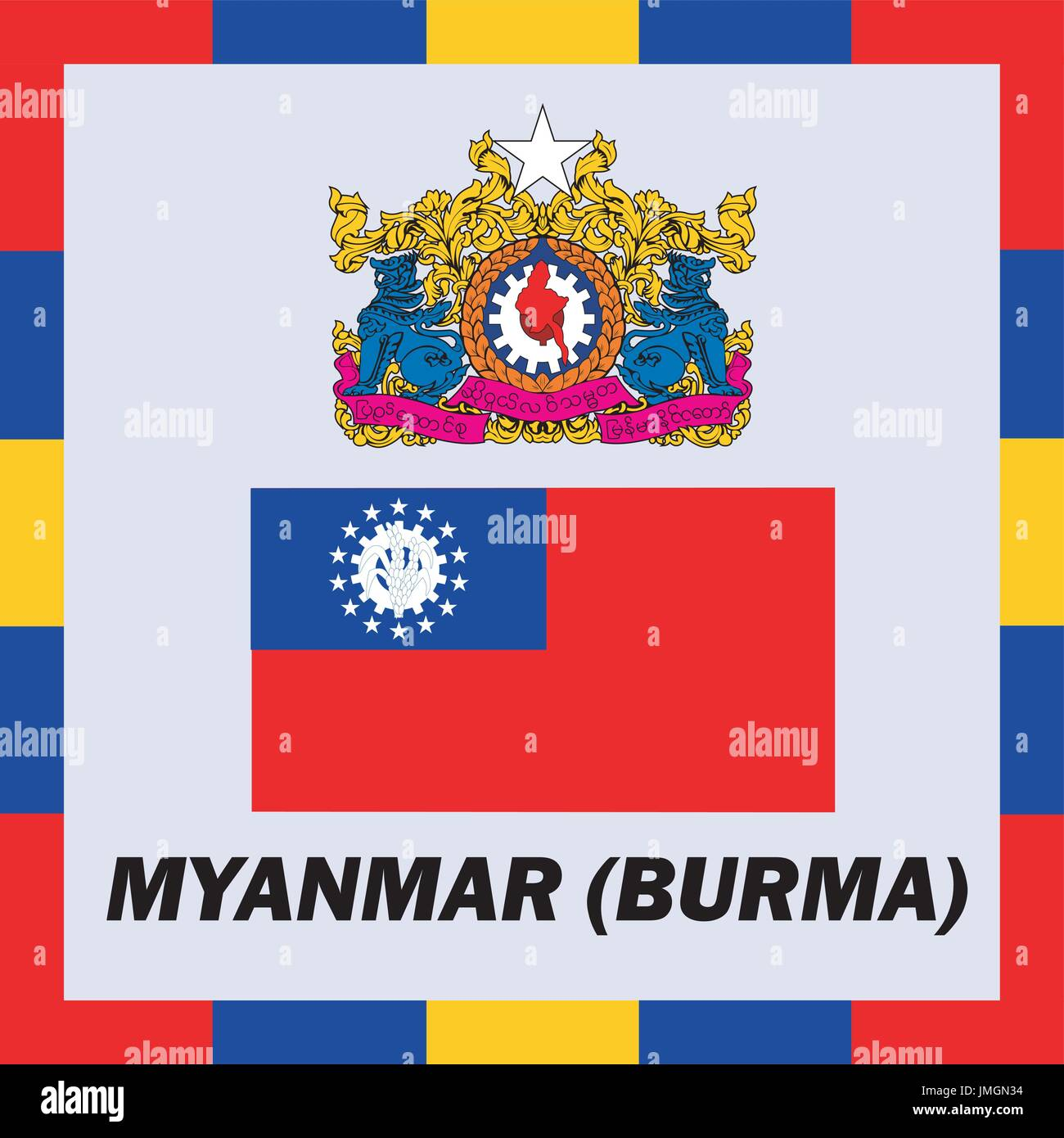 Official ensigns, flag and coat of arm of Myanmar (Burma) - Stock Vector