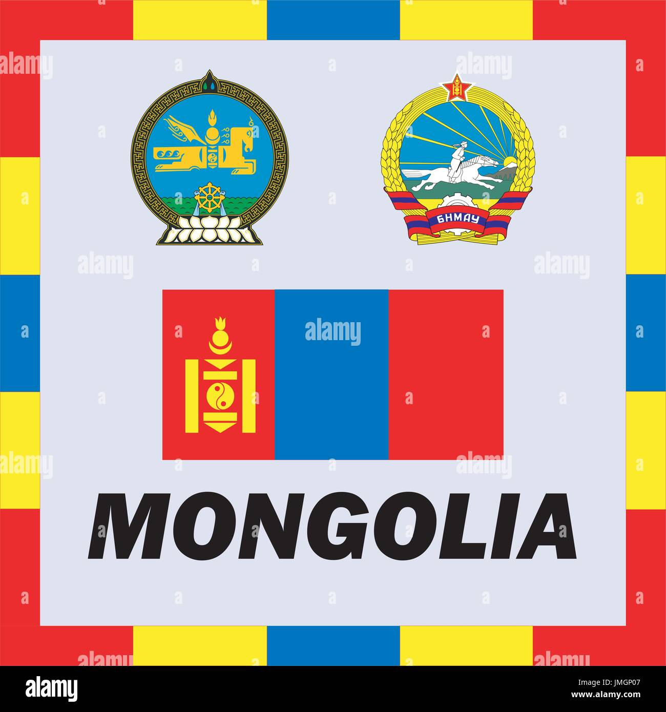 Official ensigns, flag and coat of arm of Mongolia Stock Vector