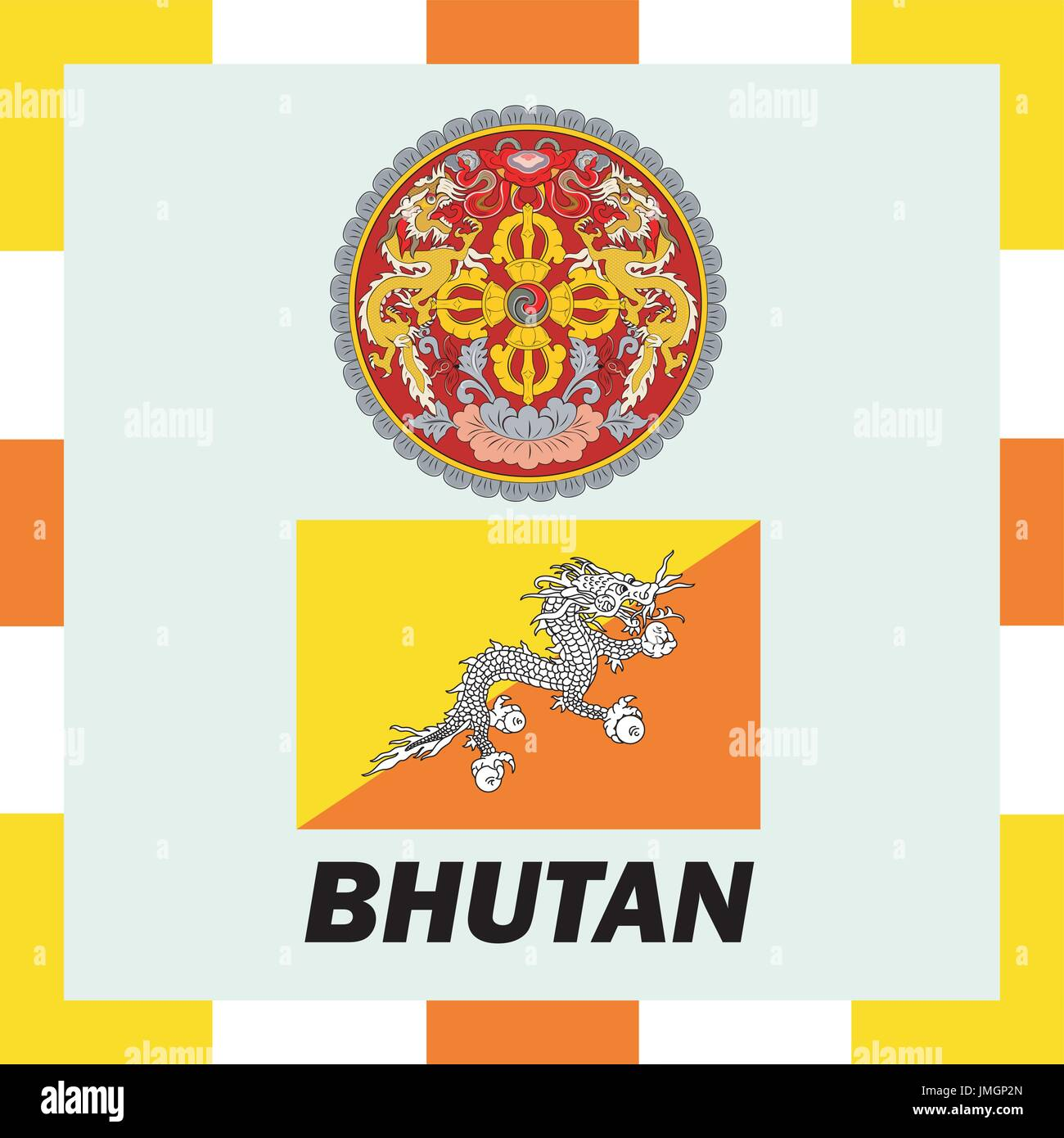 Official ensigns, flag and coat of arm of Bhutan - Stock Vector