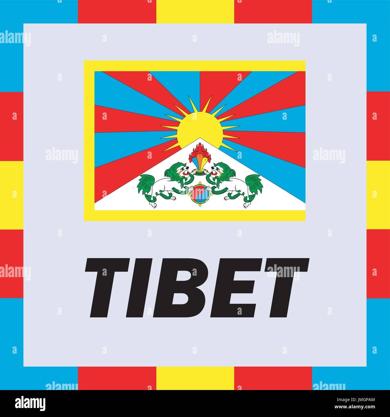 Official ensigns, flag and coat of arm of Tibet - Stock Vector