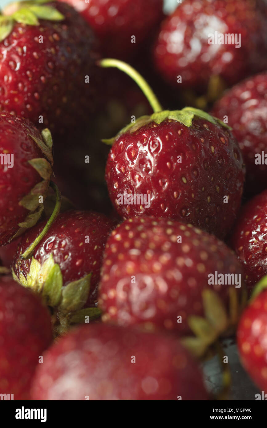 Picture of fresh ripe perfect strawberry. Macro. Stock Photo