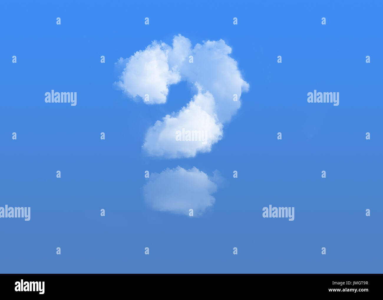 question mark  made of clouds on blue background - Stock Image