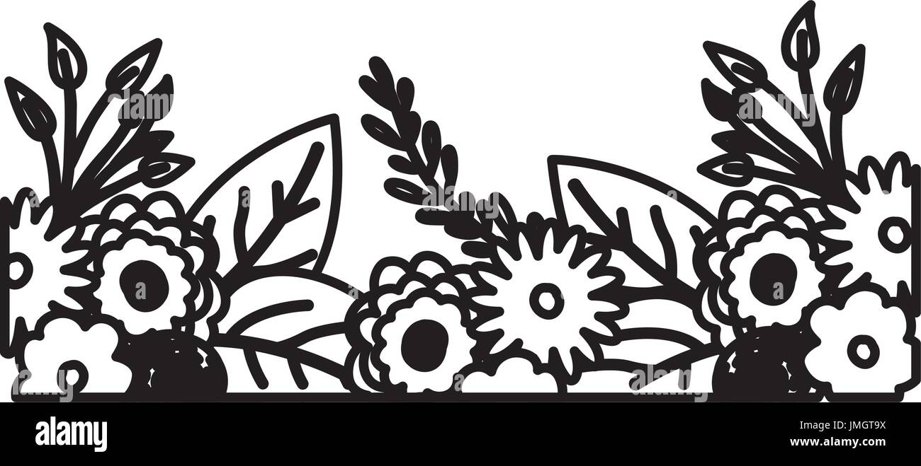 sketch contour of decorative inferior edge with beautiful flowers ornaments - Stock Image