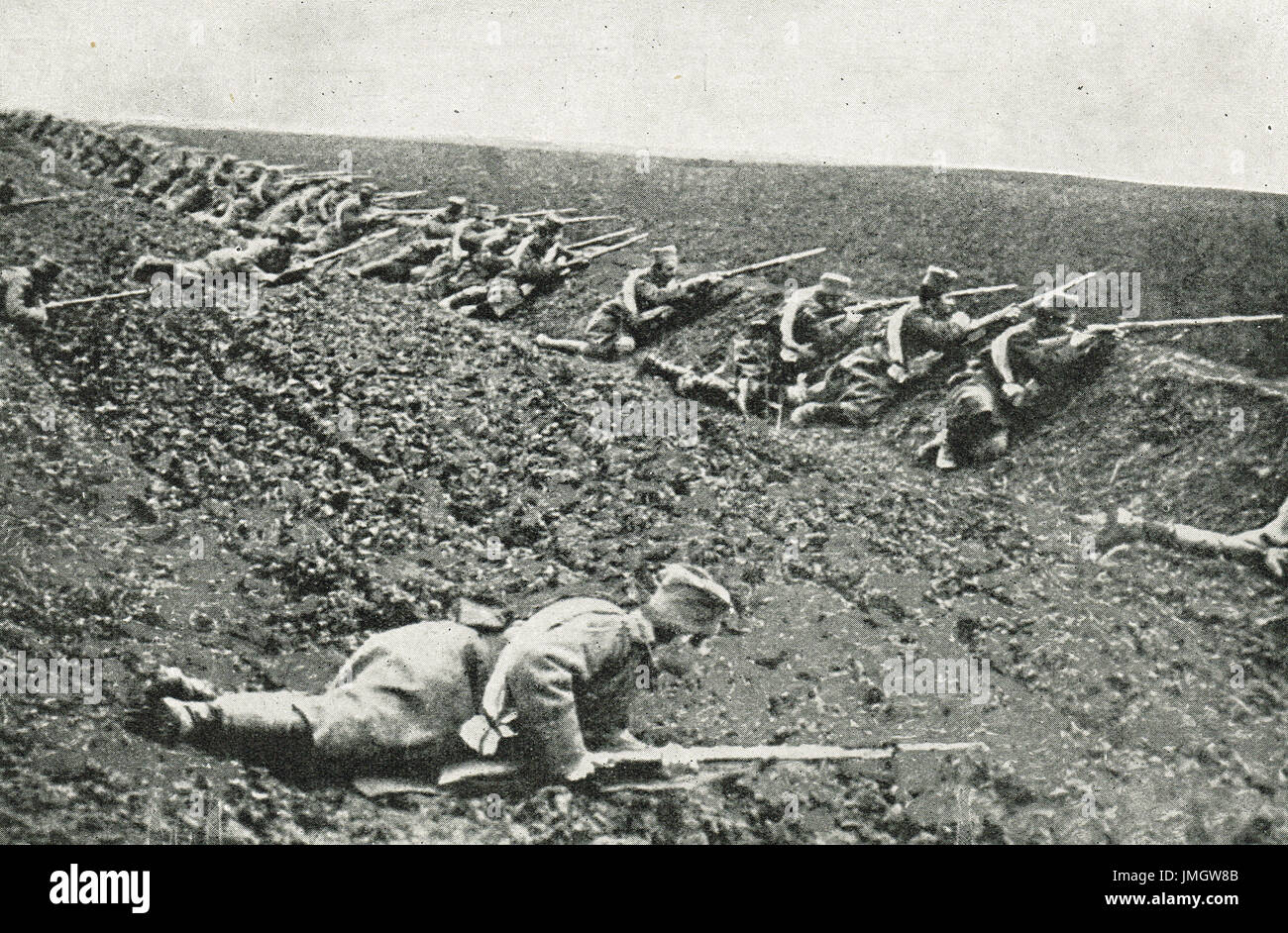 Serbian sharpshooters lying low, ww1 - Stock Image