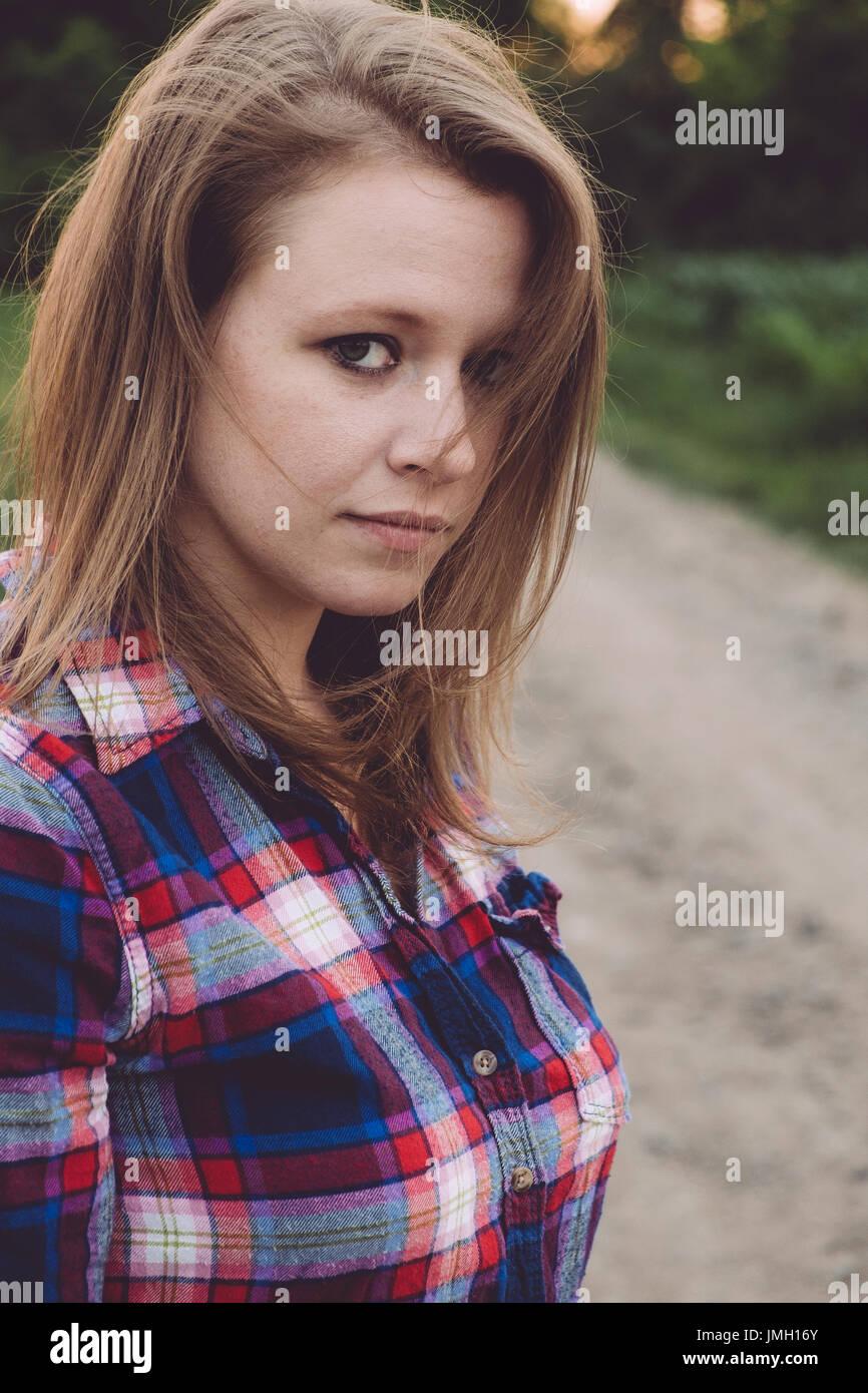 Teen girl autumn outdoors - Stock Image