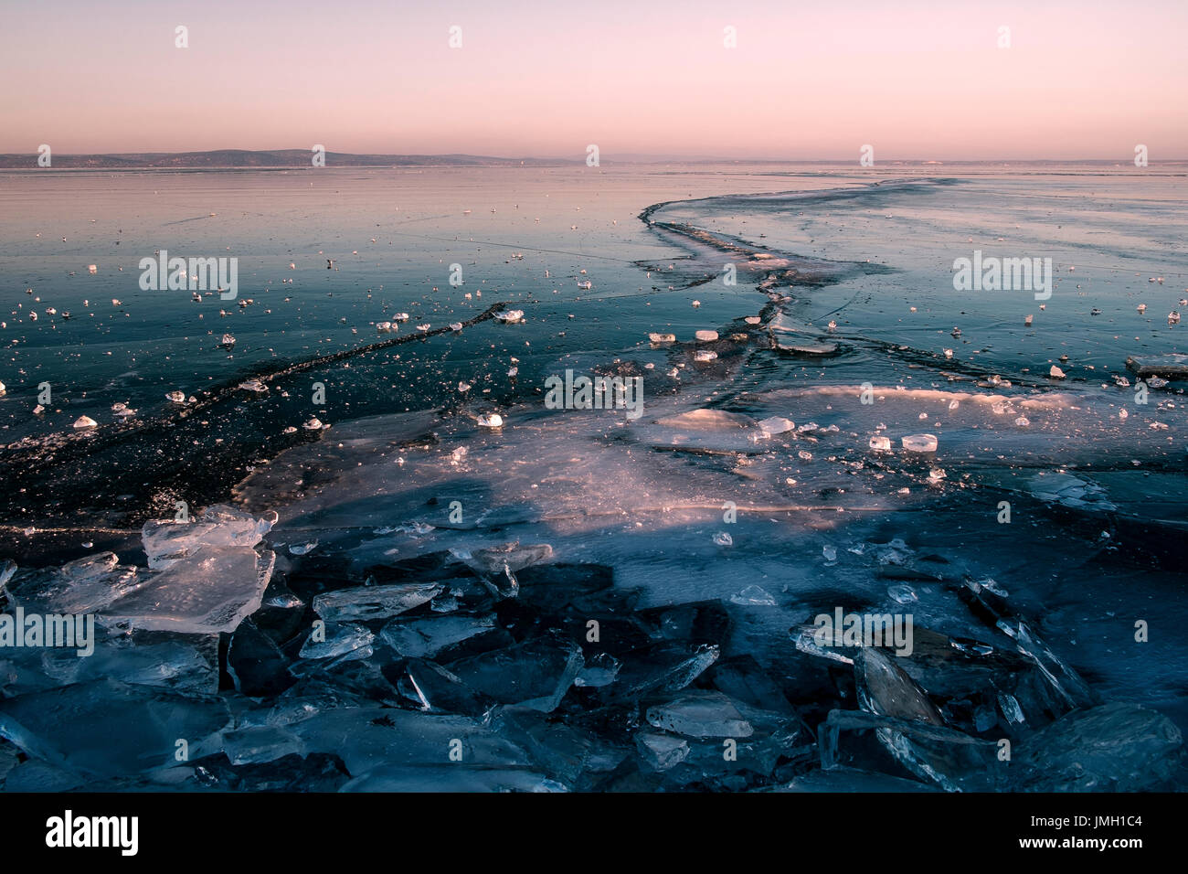 Frosted lake - Stock Image