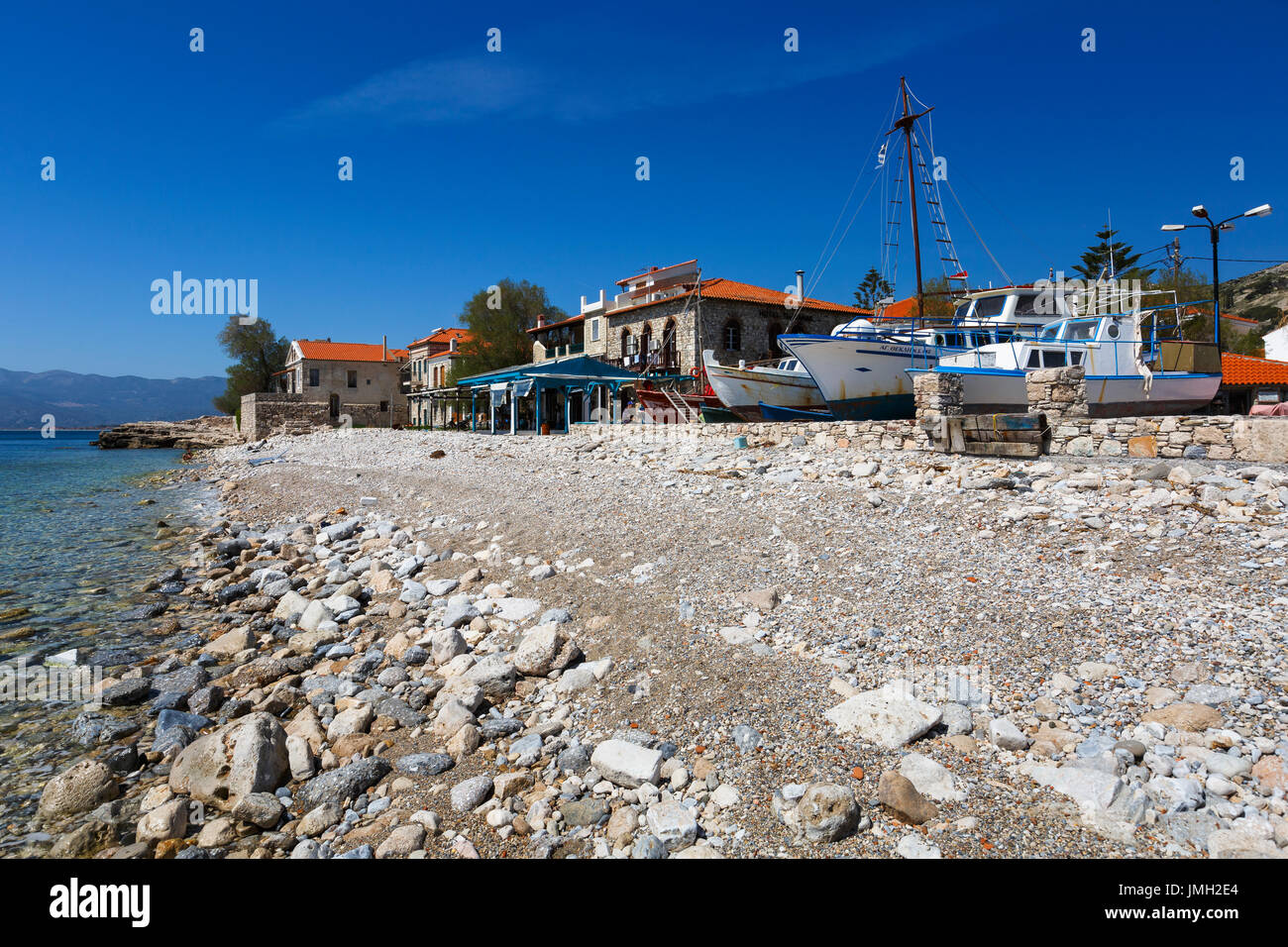 Harbour of Pythagorio town on Samos island, Greece. Stock Photo