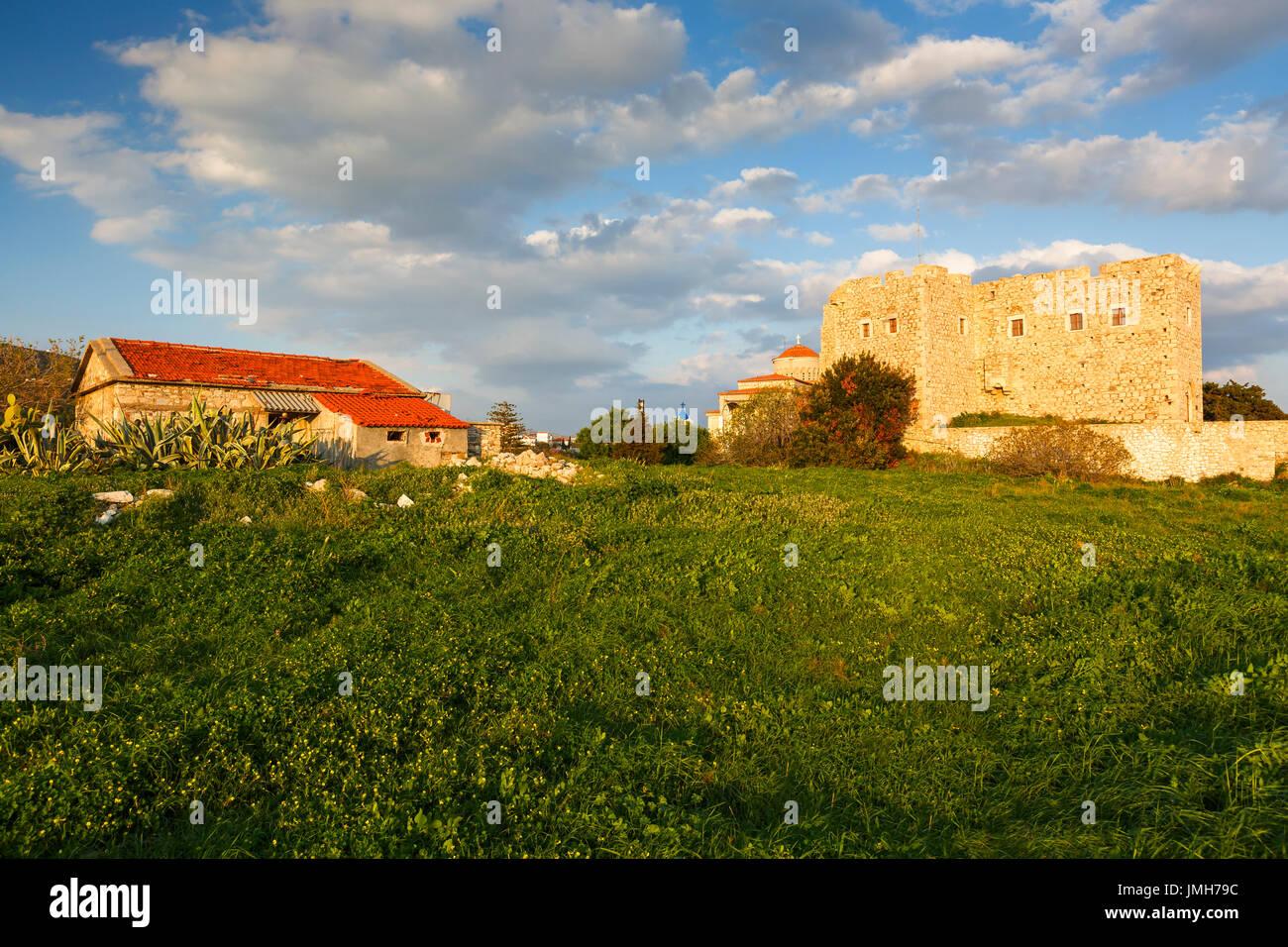 Castle in Pythagorio town on Samos island in Greece Stock Photo