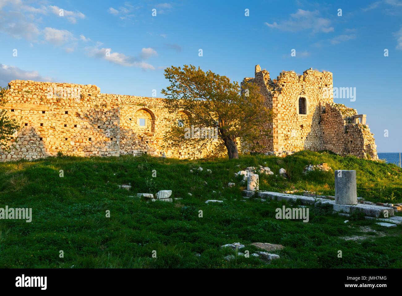 Castle in Pythagorio town on Samos island, Greece. Stock Photo