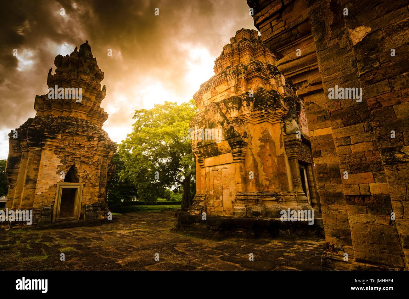 Prasat Si Khoraphum , Buddhist sculpture,Cambodia architecture ,Surin ,Thailand. - Stock Image