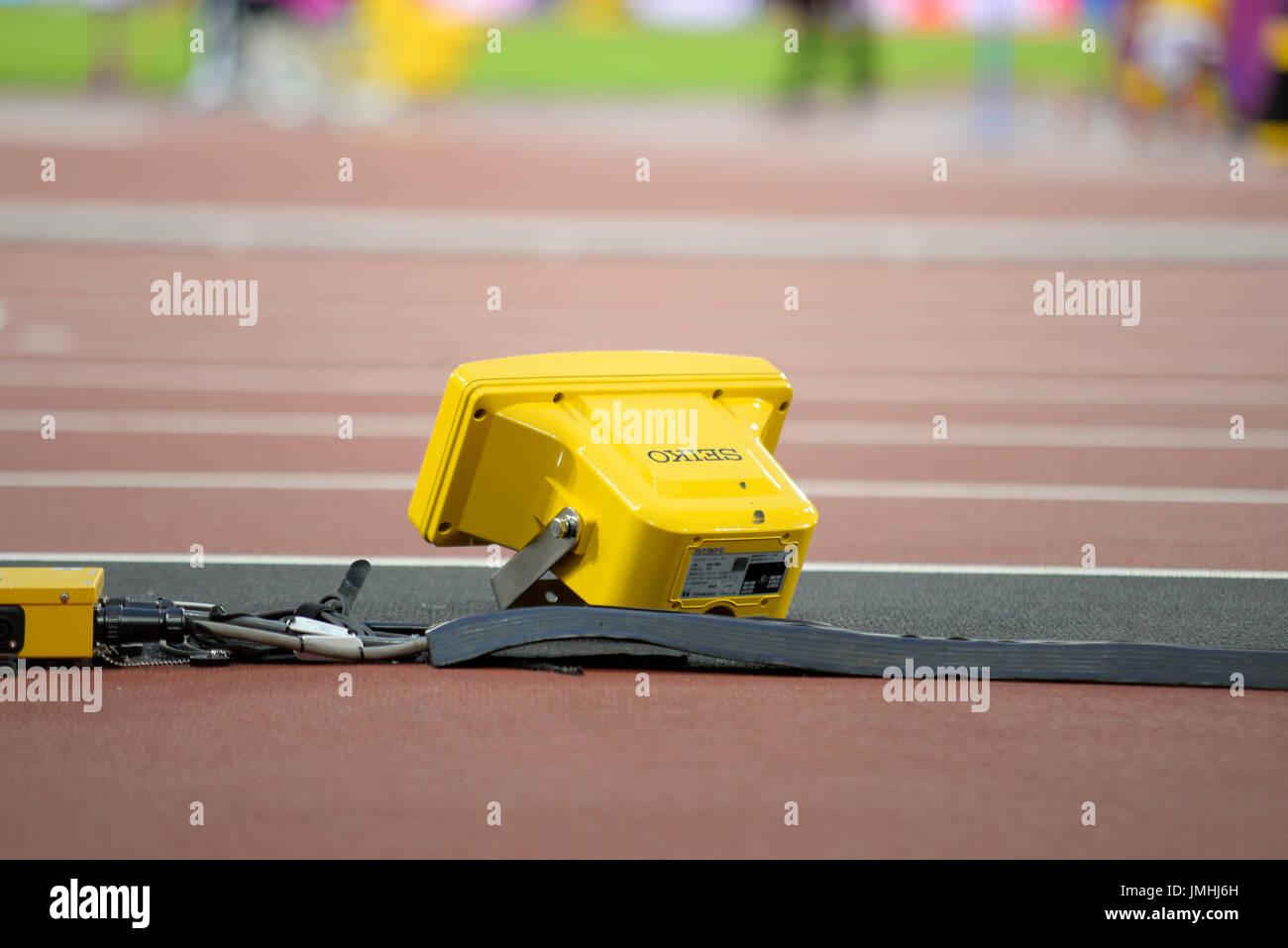 Seiko track starting equipment at the World Para Athletics Championships in the London Stadium - Stock Image