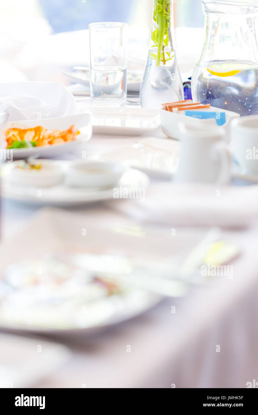 After party mess on table - Stock Image