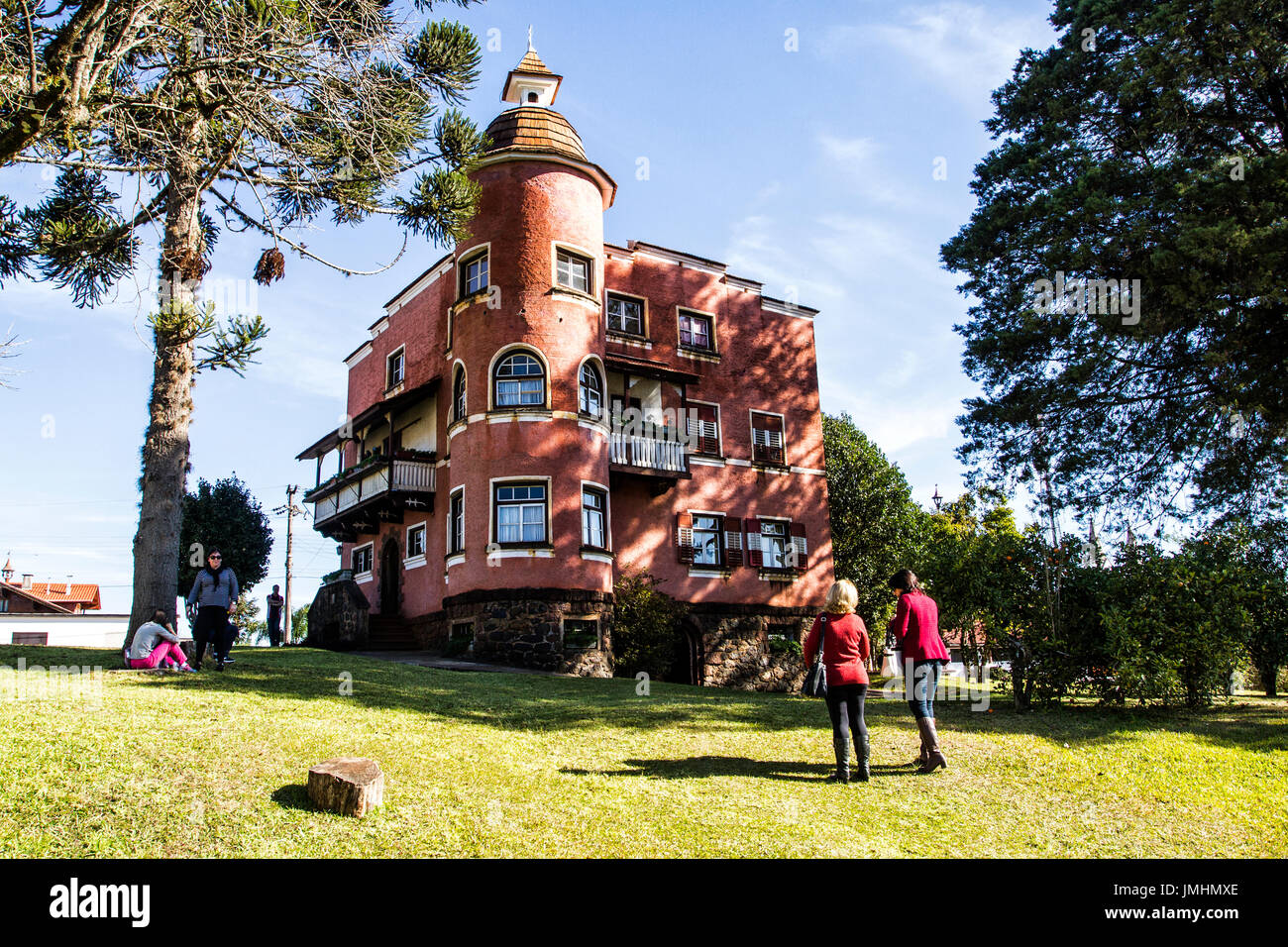 Andreas Thaler Municipal Museum, where used to be the house of the city founder, Andreas Thaler. Treze Tilias, Santa Catarina, Brazil. - Stock Image