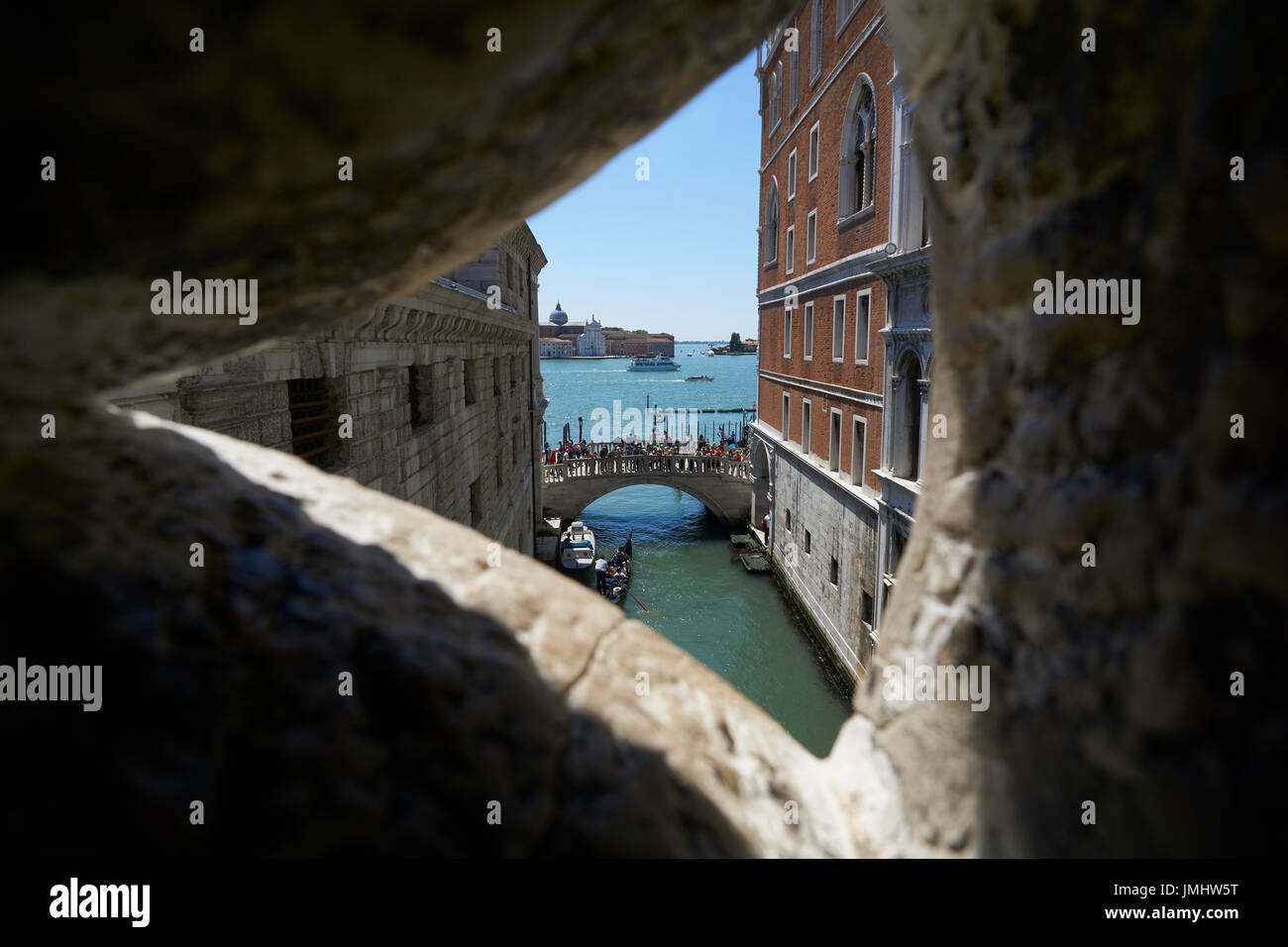 A prisoners view from the Bridge of Sighs. - Stock Image
