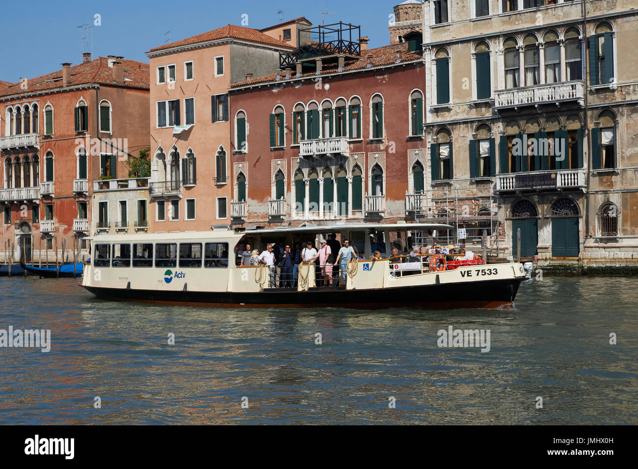 A view of a vaporetto on the Grand Canal, Venice. - Stock Image