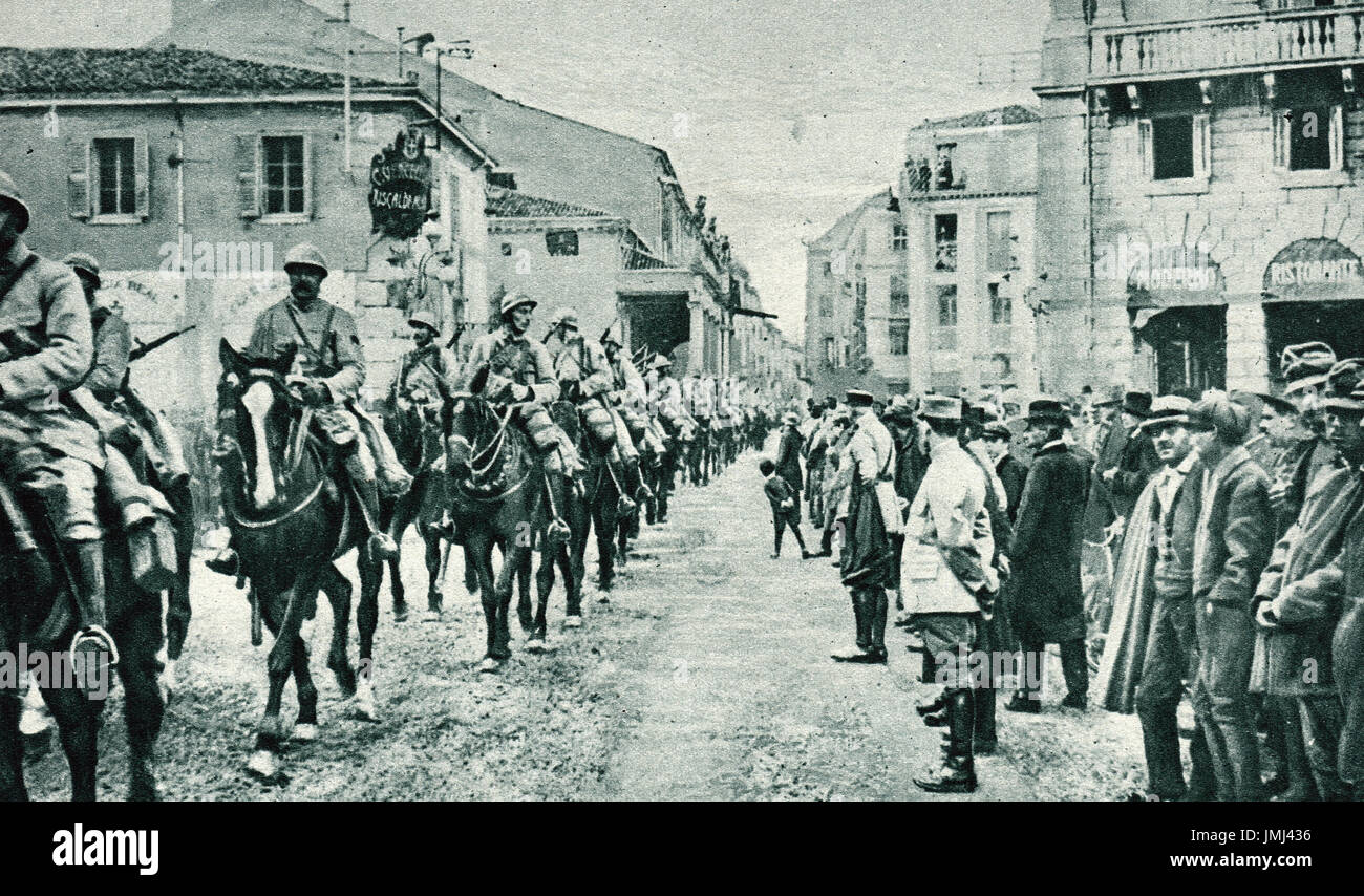 French Cavalry arriving in Italy, 1917 - Stock Image