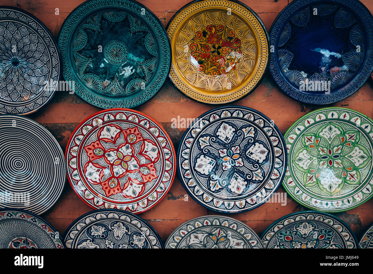 Traditional Moroccan Handmade Plates Hanging On A Wall Stock Photo Alamy