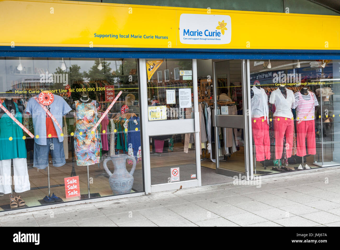 Marie Curie charity shop in Billingham,England,UK - Stock Image
