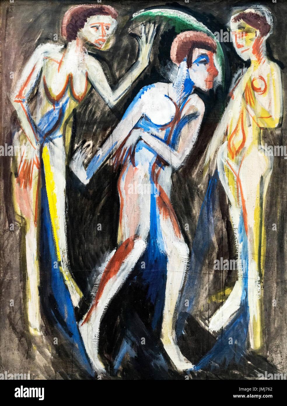 Der Tanz zwischen den Frauen (Dance Between Women) by Ernst Ludwig Kirchner (1880-1938), 1915 - Stock Image