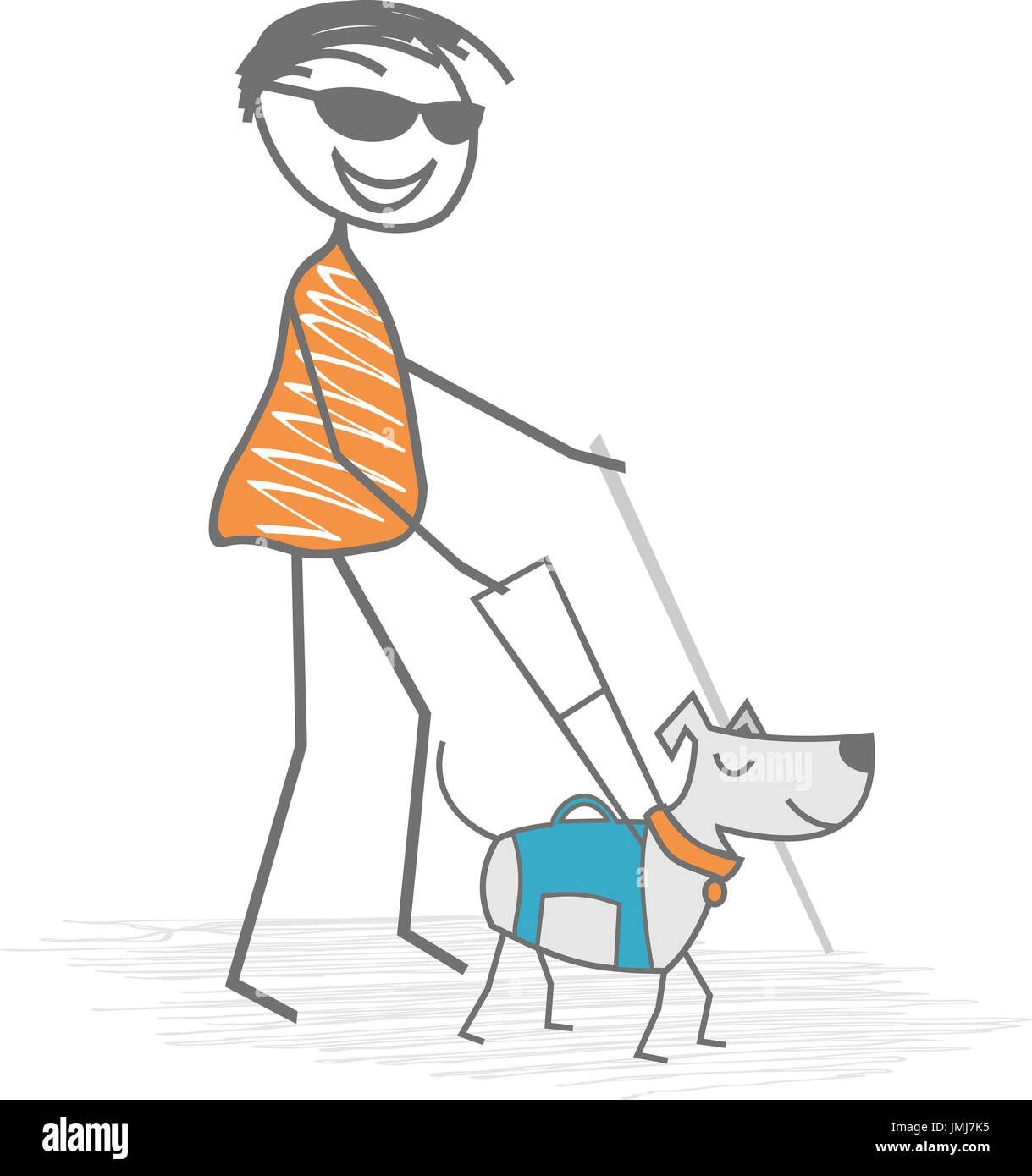 A handicapped man, blind, walks with a white cane and a dog to get help in everyday life - Stock Image