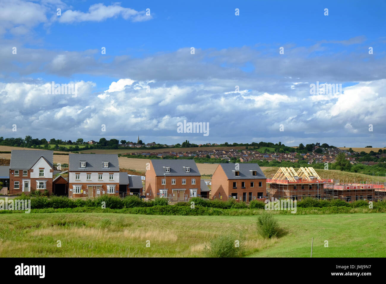 New housing development in Grantham, Lincolnshire, England, UK - Stock Image