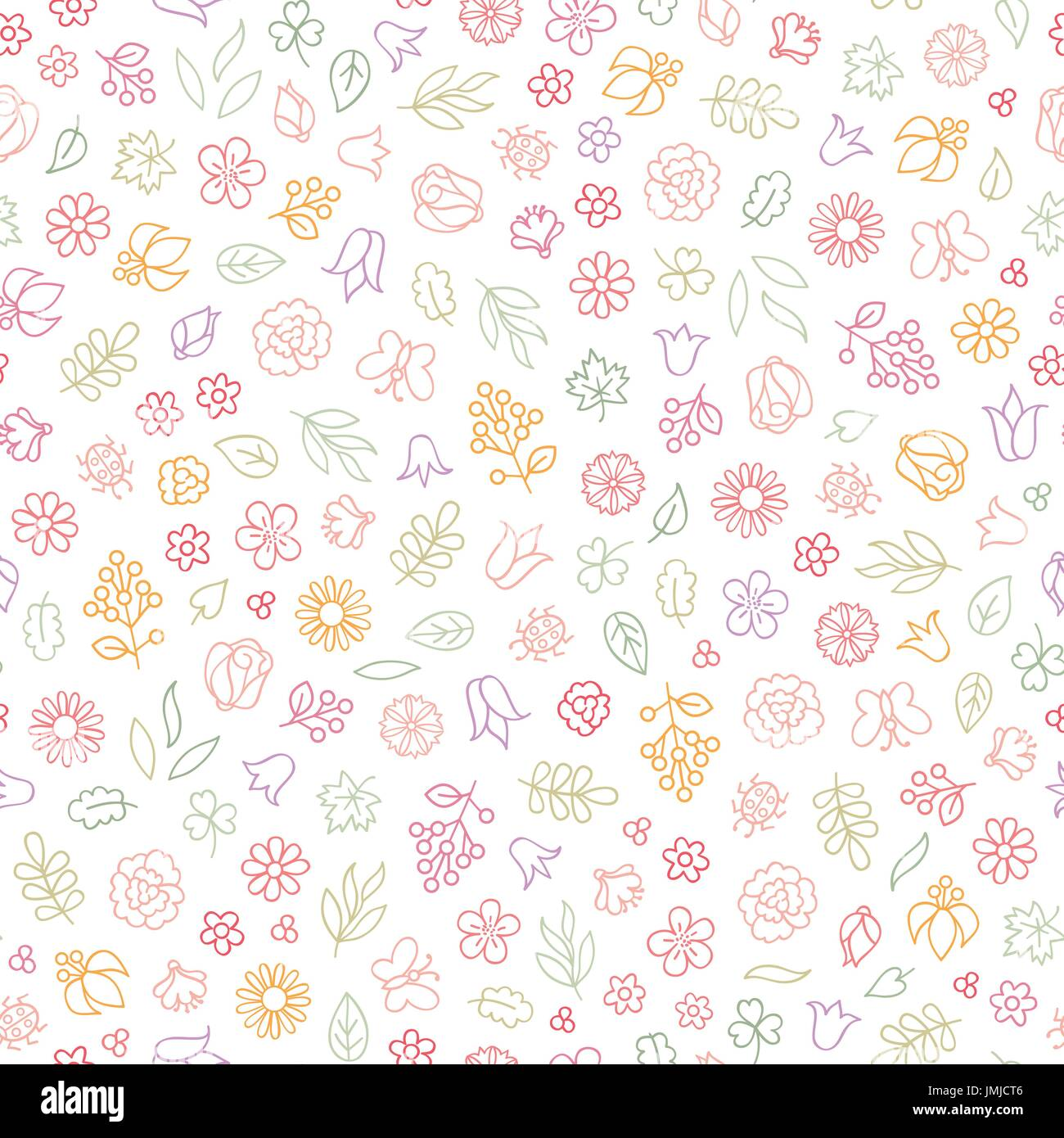 Flower icon seamless pattern. Floral leaves, flowers. Summer ornamental background - Stock Vector