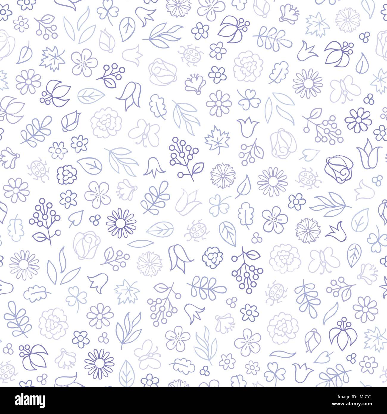 Flower icon seamless pattern. Floral leaves and flowers white texture. Nature background - Stock Vector