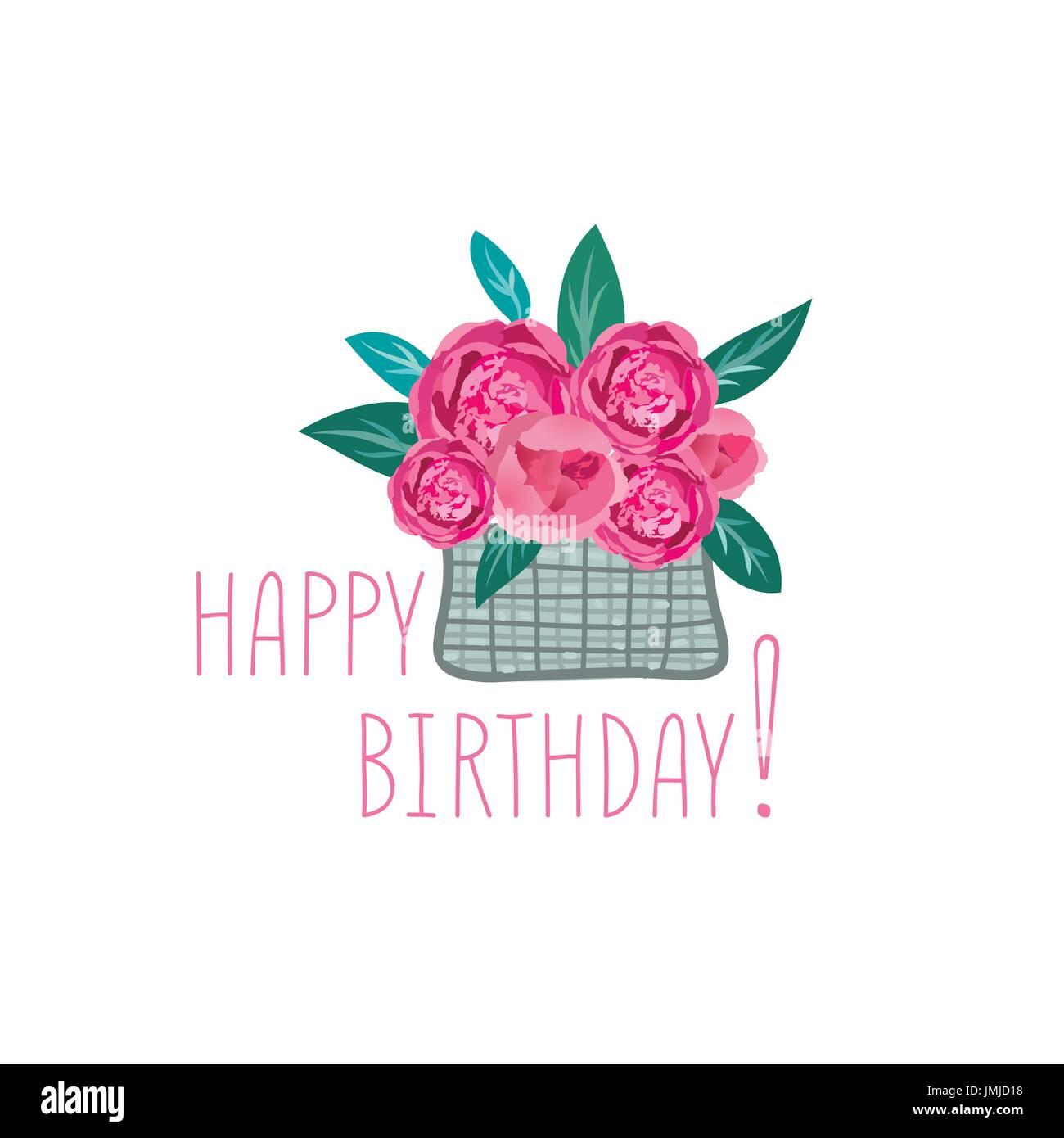 Flower In Basket Happy Birthday Greeting Card Floral Gift Summer