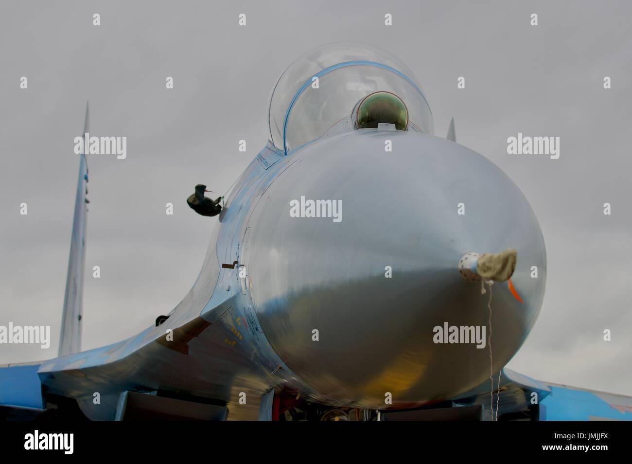 Ukrainian Air Force Su-27 Flanker on static display at the Royal International Air Tattoo 2017 - Stock Image