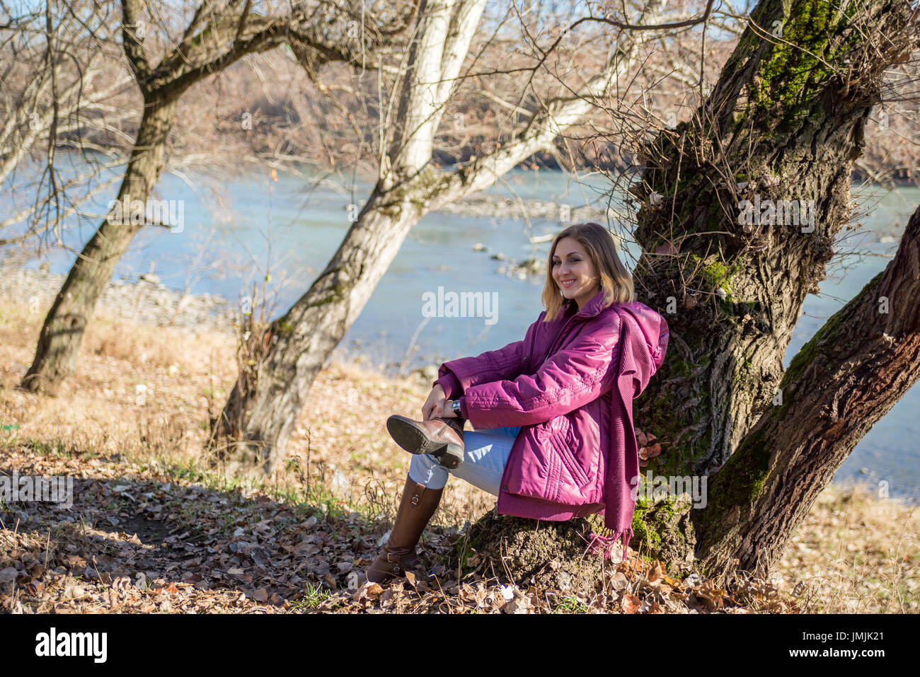 Portrait of the affable and young girl - Stock Image